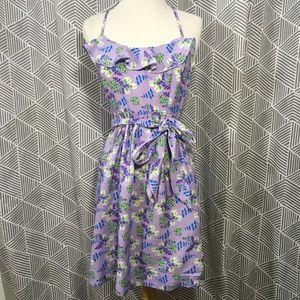 Johnny Martin Dresses - Floral Printed Ruffled Dress w Spaghetti Racerback